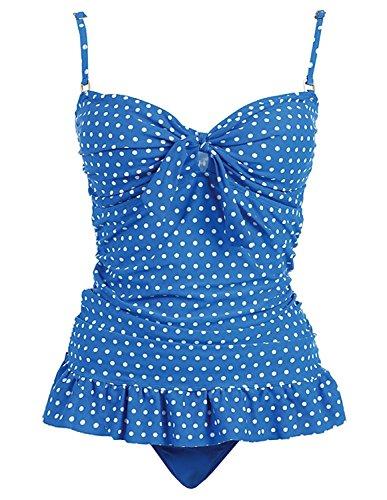 Marina West 2 Piece Bandeau Tankini Swimsuit Set (XXLarge, BLUE White Dot)