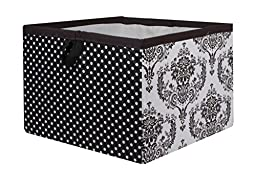 Bacati Classic Damask Storage Box, White/Black, Large