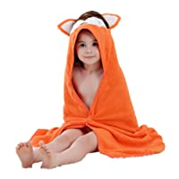 COOKY.D Baby Bath Towels with Hood Ultra Soft Cotton Hooded Bath Robe for Baby Boys Girls, 90x90cm(0-6 Years Old)
