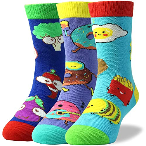 Kids Colorful Novelty Fun Food Cartoon Pattern Soft Combed Cotton Crew Socks for Boys Pack of 3 (Woven Socks Kids)