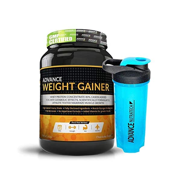 Advance Nutratech Weight Gainer for Women's- 1 Kg (Rich Delicious Chocolate)   Free Shaker Protein Powder with Soya… 2021 August (Specially formulated to gain weight) advance weight gainer is really formulated for you hard-gainer (Power of three proteins) this advance weight gainer is a blended protein powder (Also a meal replacement) the best thing about advance weight gainer is protein and casein combination