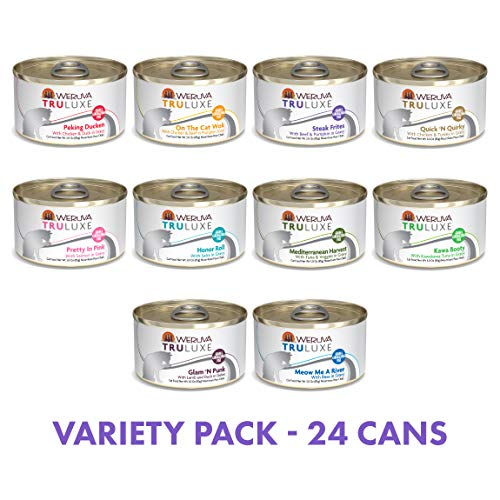 Weruva Truluxe Canned Cat Food Grain Free Variety Pack, 3 Ounce Cans Pack of 24