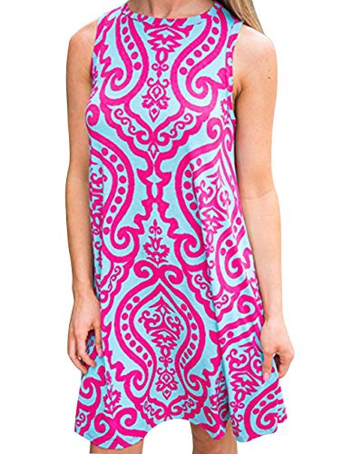(Women's Summer Sleeveless Damask Tunic Top Casual Floral Print T-Shirt Midi Dress with Pocket for Legging (Small,)