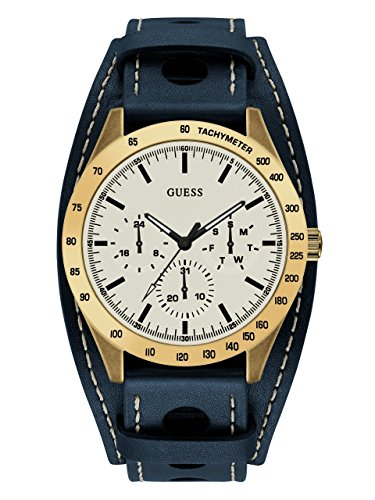GUESS Men's Quartz Stainless Steel and Leather Casual WatchColor Blue/Gold-Toned (Model: U1100G2)