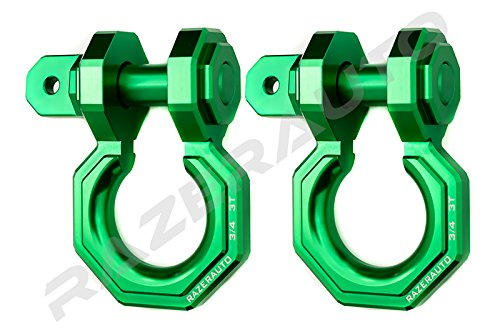Razer Auto Falcon X Precision Green Billet Aluminum 3.0 Ton D-Ring Bow Shackle 1 Pair 3/4'' - Rugged 3.0 Ton Capacity (Green) with 2-day Shipping