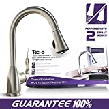 TECHO Stainless Steel Kitchen Faucets Single Handle With Pull Down Sprayer Brushed Nickel