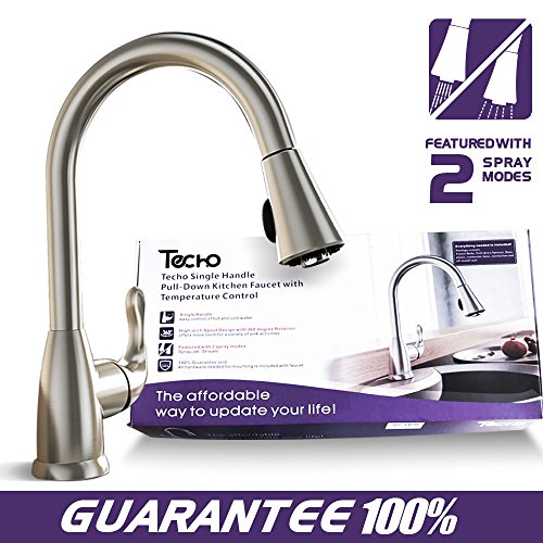 TECHO Stainless Steel Kitchen Faucets Single Handle With Pull Down Sprayer Brushed (3 Piece Extension Wands)