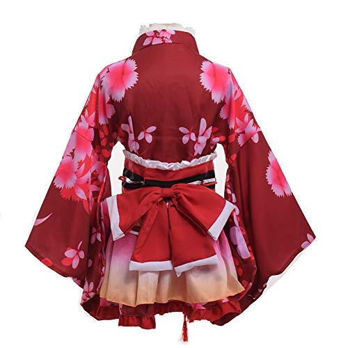 GRACEART Japanese Yukata Kimono Costume Anime Cosplay Robe (Red) ()