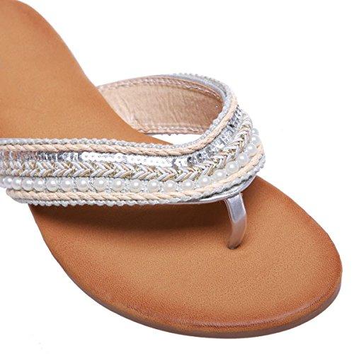 La Modeuse - Sandalias para mujer plata