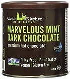 Castle Kitchen Marvelous Mint Premium Dark Hot Chocolate Mix - Vegan, Plant Based, Gluten Free, Dairy Free, Non-GMO Project Verified, Kosher, Just Add Water - 400g