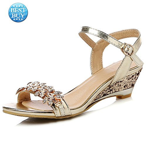 bfda3f323b4 An Meng Xin Ling Wedge Sandals Women Leather Open Toe Low Heel Comfort  Dress Shoes Sexy