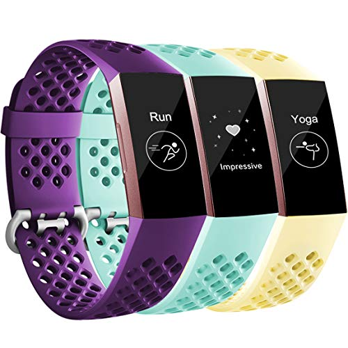 Maledan Replacement Bands Compatible with Fitbit Charge 3 and Charge 3 SE for Women Men, 3 Pack Plum/Mint Green/Mellow Yellow, Large