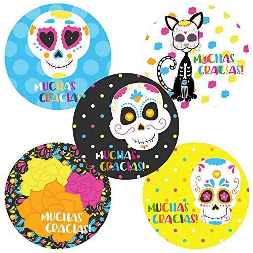Sugar Skull Thank You Sticker Labels - Birthday Halloween Party Favor and Envelope Seal - Set of -