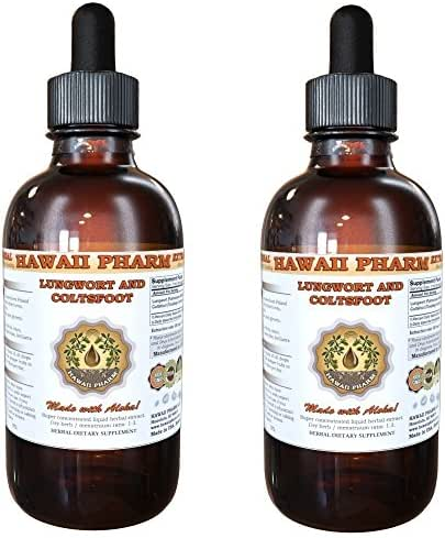 Lungwort and Coltsfoot Liquid Extract, Organic Lungwort (Pulmonaria officinalis) and Organic Coltsfoot (Tussilago Farfara) Tincture Supplement 2x4 oz