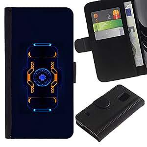iKiki Tech / Cartera Funda Carcasa - Blue Black Orange Sci-Fi Future Tech - Samsung Galaxy S5 SM-G900