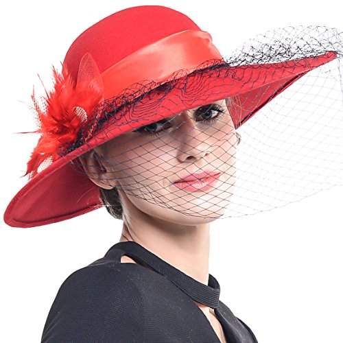FORBUSITE Women Wool Felt Hats Church Dress Hat for Winter, Vintage Handmade Red