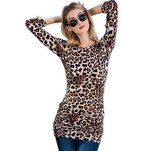 Preppy Doll Made In USA Women's Animal Leopard Print Long 3/4 Sleeve Top With Side Elastic Pleat (Small)