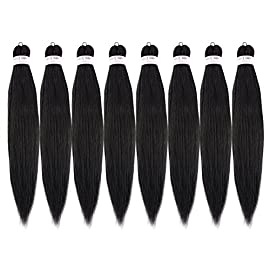24″-8packs/lot Pre-stretched Professional Braiding Hair Perm Yaki Hair Hot Water Setting-Itch Free-Pre Layered Braiding hair(1#)