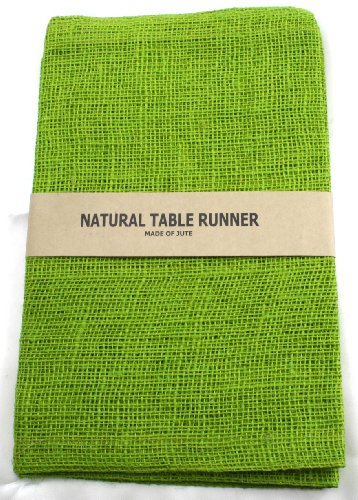 Kel-Toy Burlap Jute Table Runner/Fold and Sew Edge, 14 by 72-Inch, Apple Green ()