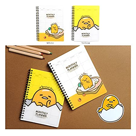 Gudetama Sanrio PP Cover Monthly Memo Planner Schedule Book (White)