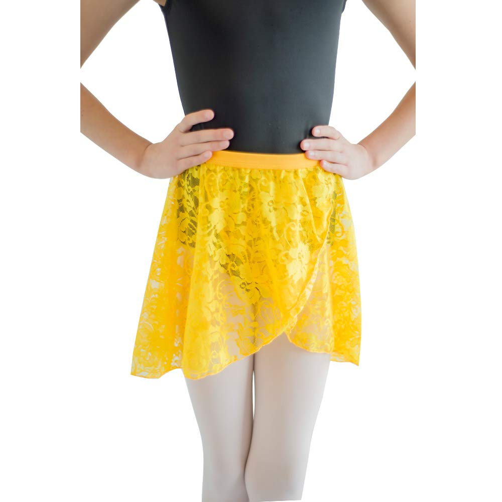 HDW DANCE Lace Dance Wrap Skirts for Kids Cotton Waistband (Yellow-C) by HDW DANCE