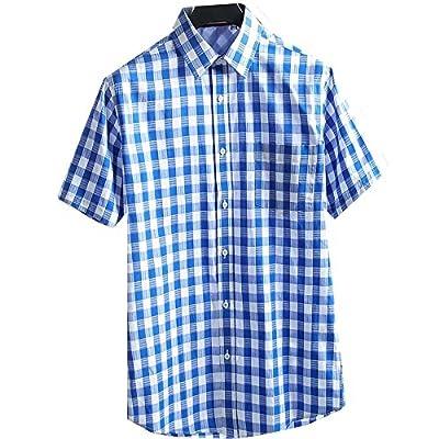 ROMANCE DANDY Men's Short Sleeve Plaid Shirt 100% Cotton Wrinkle Free