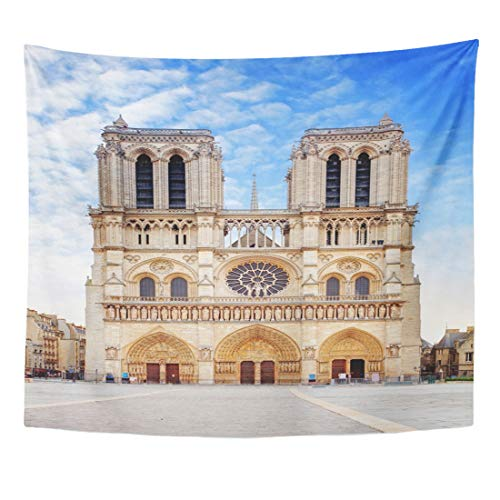 Emvency Tapestry Architecture Travel Notre Dame Cathedral Paris Ancient Basilica Catholic Home Decor Wall Hanging for Living Room Bedroom Dorm 60x80 Inches