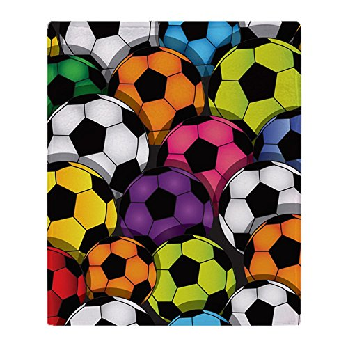 Fleece Soccer Blanket - CafePress - Colorful Soccer Balls - Soft Fleece Throw Blanket, 50