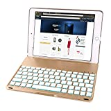 iPad Air Keyboard Case, iEGrow F8S Slim Bluetooth Clamshell Protective Cover with 7 Colors LED Backlit Keyboard for iPad Air 1 Model A1474/A1475/A1476(Gold)