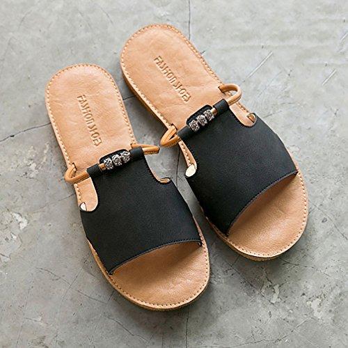 Zapatillas Abierta Mujer de tacón Puntera Negro para YVWTUC Romano con Estilo OdqaO