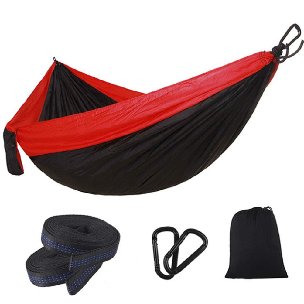 Redandblack Single Double Hammock Adult Outdoor Backpacking Travel Survival Hunting Sleeping Bed Portable with 2 Straps 2 Carabiner