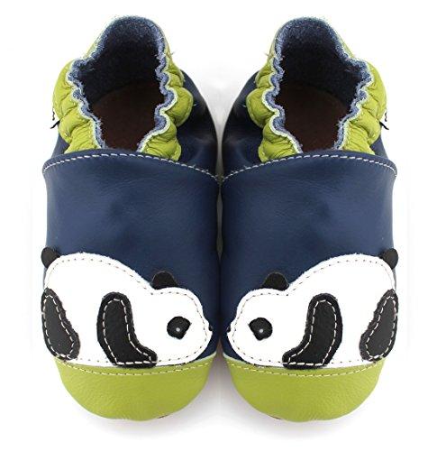 Meli Melo bio - Chaussons cuir souple Panda bleu vert