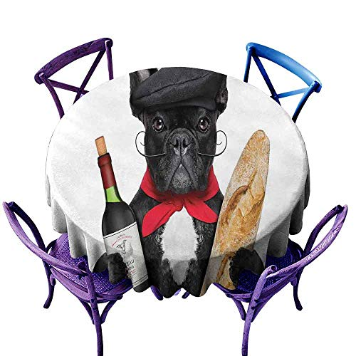 Custom Tablecloth,Bulldog,French Dog in a Hat with Red Wine and Baguette Bread Gourmet Parisienne Animal,Table Cover for Kitchen Dinning Tabletop Decoratio,50 INCH Multicolor