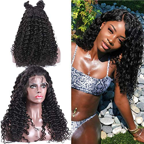 Human Jerry Curl Wig 13x4 Kinky Lace Front Wigs Unprocessed Brazilian Virgin Human Hair Wigs For Black Women Tangle Free And No Shedding 130% Density Bleached Knots Wigs Natural Hairline 1b(18inch)