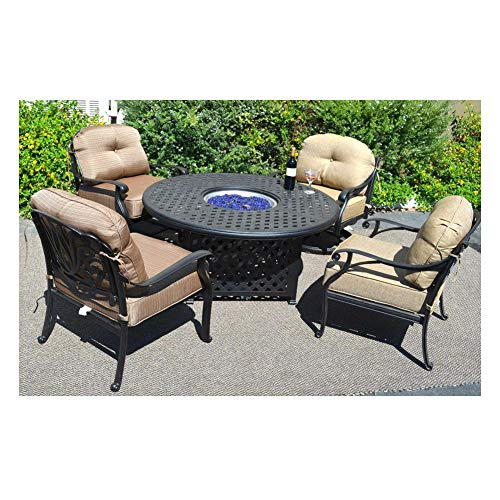 Fire Seating Table Club Pit - Propane Fire Pit Table Set Elisabeth 5pc Deep Seating Cast Aluminum Patio Furniture Desert Bronze