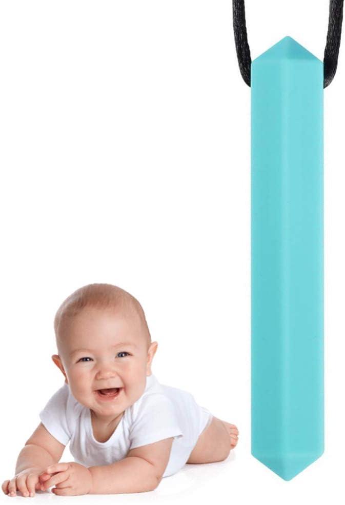 Healifty collier de dentition sensoriel /à m/âcher en silicone /à m/âcher jouet colliers /à m/âcher pour lautisme mordant la dentition enfants bleu