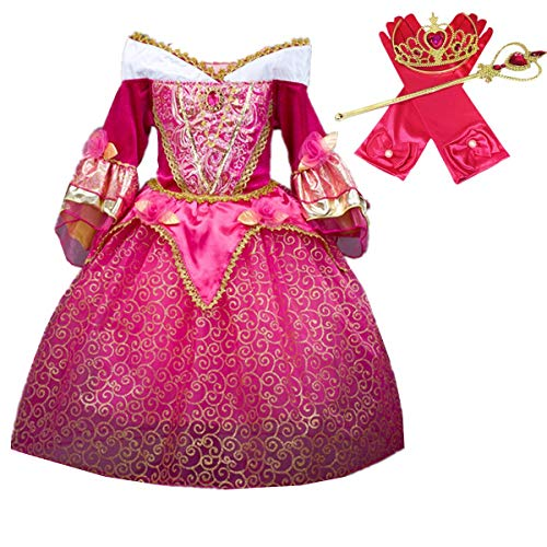 DreamHigh Sleeping Beauty Princess Aurora Girls Costume Dress with Cosplay Accessorries Size 4-5 Years