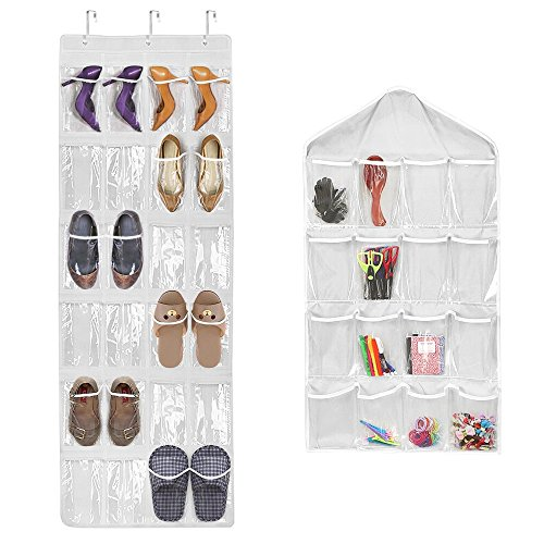 24 Pockets Over the Door Shoe Organizer (18'' x 59'') + 16 Pockets Foldable Wardrobe Hanging Bags Socks Briefs Organizer Closet Storage Organizer(17'' x 30'') + 3 Over the Door Hooks from oobest
