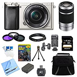 Sony Alpha A6000 24.3mp Silver Interchangeable Lens Camera W 16-50mm Zoom 32gb Kit Includes Camera, Memory Card, Battery, Gadget Bag, & More (2 Lens Kit 16-50mm & 55-210mm)