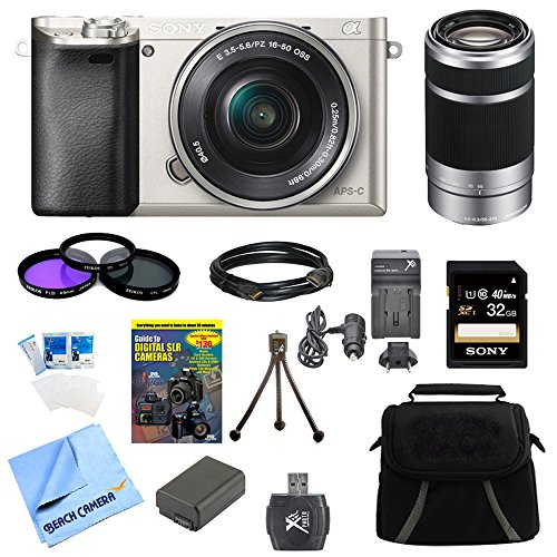 Sony Alpha a6000 24.3 Interchangeable Lens Camera with 16-50mm Power Zoom Lens BUNDLE with SEL 55-210 (Silver), Sony 32GB Class 10 Card, Spare Battery, Deluxe Digpro Case, and more