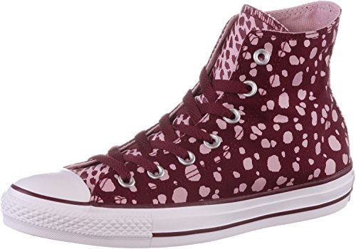 Converse Chuck Taylor All Star HI estampado animal zapatillas mujeres Deep Bordeaux/Pink Freeze/White