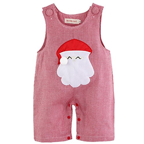 YiZYiF Christmas Santa Claus Costume Baby Boys' Girls' Plaid Romper Boys Santa 3-6 Months