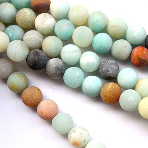 Tacool Natural Unpolished Frosted Amazonite Round 6mm Gemstone Jewelry Making Beads Findinds Supplies