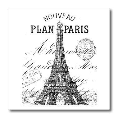 3dRose ht_110389_2 Nouveau Paris Vintage Eiffel Tower-Iron On Heat Transfer, 6 by 6