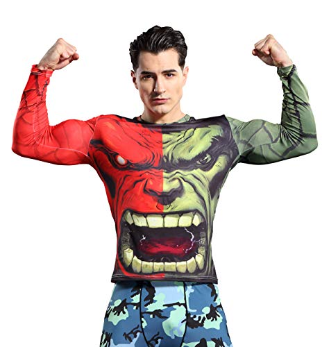 GYm GaLa The Incredible Hulk Men's Long Sleeve Sports Shirt for Cosplay and Theme Party (S, Red) ()