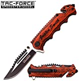 GIFTS INFINITY Free Engraving -Wood Survival Knife: 3 in 1 Tactical Spring Assisted Pocket Knife, Seat Belt Cutter, Razor Sharp Stainless Steel Folding Knife and Window Breaker