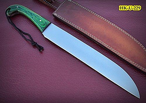 Poshland REG-HK-U-229,Custom Handmade 440C Stainless Steel 17 Inches Hunting Knife - Solid & Beautiful Green Doller Sheet Handle