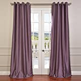 HPD HALF PRICE DRAPES Half Price Drapes PDCH-KBS11-96-GRBO Grommet Blackout Vintage Textured Faux Dupioni Silk Curtain, Smokey Plum For Sale