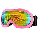 Zdatt Kids Snow Skiing Goggles Youth ATV Helmet Goggles - UV Protection Double Lens Children Motorcycle Dirt Bike Goggles - Dustproof Scratch Resistance(Pink)