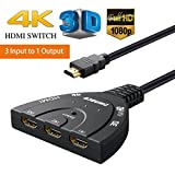 #2: HDMI Switch HDMI Selector Switch High Speed Ultra HD Smart Automatic 4K HDMI Switch 3-Port,Supports Full HD 4K 1080P 3D Player with 1.8 Feet Cable